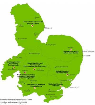 East of England regional map